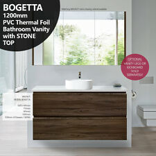 BOGETTA 1200mm Walnut Oak PVC THERMAL FOIL Timber Wood Grain Vanity w Stone Top