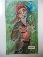 Cuba CHAMART Artist Charo Hand SIGNED PaintinG PIRATE HOOK PARROT MEN LOOK PX
