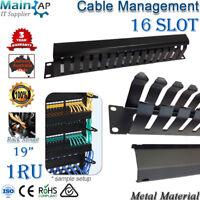 "1RU 16 SLOTS CABLE MANAGEMENT COMPUTER SERVER RACK 19"" CABINET NETWORK METAL"