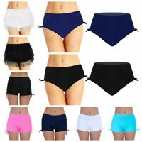 Plus #S-5XL Women Plain Swim Shorts Bikini Swimwear Side Tie Sport Beach Bottoms