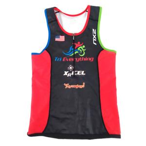2XU Tri Singlet Tank Top Jersey Womens XL Triathlon 1/2 Zip Back Pocket