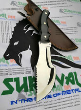 CUSTOM HANDMADE D2 STEEL HUNTING TRACKER KNIFE SWISS SAW FIXED BLADE TRACKER