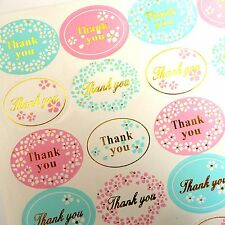 48x Lovely Pink and Light Blue Floral Thank You Stickers