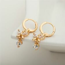 Fashion Women 18k Gold Filled Zircon Crystal Butterfly Dangle Ear Hoop Earrings