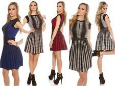 Fashion Damen tailliertes Strickkleid Etui Kleid mit tollem Muster in 5 Farben