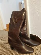 Ladies Clarkes Brown Leather Boots Knee  Length Size 6