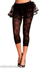 1129 Sexy Floral Black Sheer Workout Exotic Leggings Nylon Pants Rave One Size