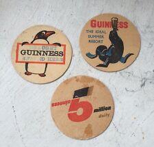 Vintage Retro 3 Guinness Beermat Old