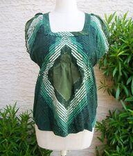 Calvin Klein Jeans woman's Green Geometic Top, Size S Petite Short Sleeve Shirt