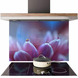 Glass Splashback Kitchen Tile Cooker Panel ANY SIZE Dew Purple Petal Flower 0768