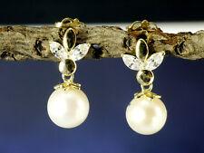 585 Gold Ohrstecker 5,3 mm Süsswasser Perlen 1 Paar mit Zirkonia Steinen