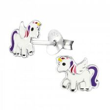 Small Unicorn Earrings Studs Sterling Silver Pink Purple Babies Toddler Girls