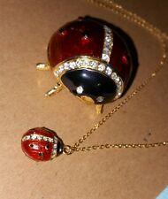 QVC Mom Baby red enamel ladybug Pendant gold tone necklace w/trinket box holder
