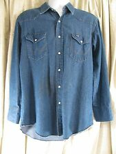 Wrangler Vtg Denim Shirt 16 1/2 33 Usa Pearl Button Snap Western Rodeo Cowboy