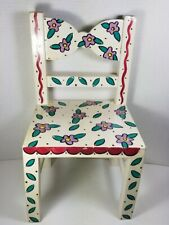 VTG '90's White Doll Chair, Hand Painted w.Purple Flowers/Green Leaves/Red Trim