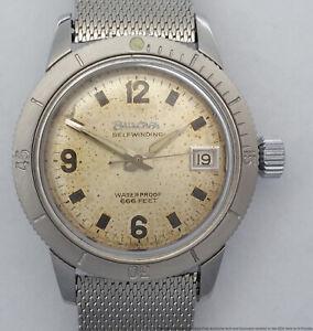 Rare White Dial Bulova 666ft Automatic Mens Vintage Divers Watch