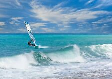 Awesome Wind Surfing Poster Print Size A4 / A3 Surfing Sports Poster Gift #8149