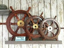 """Wood Ship Wheel ~ Nautical Boat Wooden Brass Steering ~ 12"""", 18"""", 24"""", solid"""