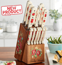 14 Pieces Knife Cutlery Set W/ Knife Block Assorted Vintage Floral Kitchen Tools