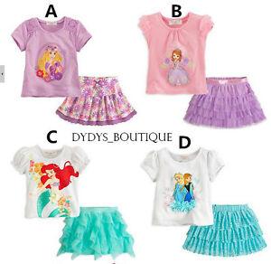 FROZEN skirt top set girls Anna Elsa Ariel Little Mermaid Tangled S/M