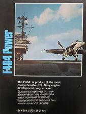 3/1981 PUB GE GENERAL ELECTRIC F404 ENGINE F/A-18 F-18 US NAVY ORIGINAL AD