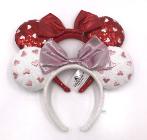 2pcs Disney Parks 2020 Minnie Ears Red White Heart Bow Disneyland Headband