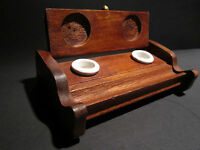 Antique Style Wood Writing Double Inkwell Box Ink Pot Porcelain