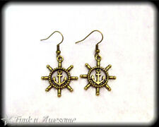 NAUTICAL. Dangle EARRINGS.  Anchor/Wheel. BRONZE Tone. Vintage,Sailor,Rockabilly