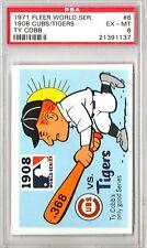 1971 Fleer World Series 1908 Cubs Tigers #6 PSA 6 P496