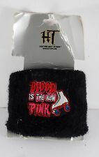 "HOT TOPIC ""BLOOD IS THE NEW PINK""  ROLLERSKATING TERRY CLOTH  WRISTBAND NOC"