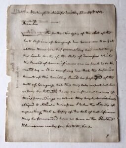Thomas Rodney Autograph Letter Mississippi Territory Delaware