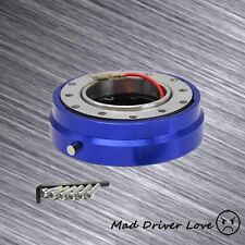 """6-HOLE STEERING WHEEL 1-CLICK PIN SHORT 1.5"""" QUICK RELEASE HUB ADAPTER KIT BLUE"""