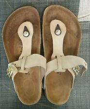 Betula Birkenstock Gizeh Thong Sandals Sz.38 US.8, Light Brown Real Leather GUC