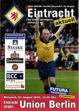 RL 2000/01 Eintracht Braunschweig - 1. FC Union Berlin + Mannschaftsaufstellung