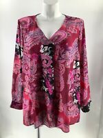 Chenault Women's 3X 26 28 Blouse Pink Multi Paisley V-neck Pleat Long Sleeve New