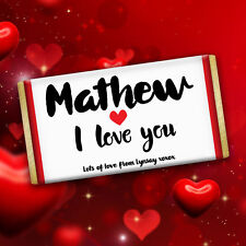 Personalised Valentine's Day I Love You Chocolate Wrapper