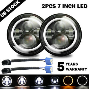 "2x 7"" Inch Round LED Headlights Halo Angle Eyes For Jeep Wrangler JK LJ TJ CJ"