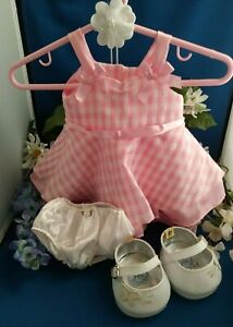 """~Excellent Condition """"BUILD A BEAR"""" Pink/White Outfit-Bow-Shoes-4 PC Set~"""