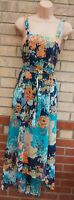 MARKS SPENCER INDIGO GREEN ORANGE PURPLE FLORAL FLIPPY BELTED LONG DRESS 10 S