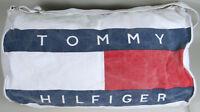 Vintage 1980s Tommy Hilfiger Duffel Bag Canvas Tote Gym Travel Adjustable Strap