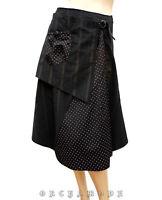 Jupe noire T. 38 M 2 style portefeuille asymétrique Pois TBE skirt rock falda