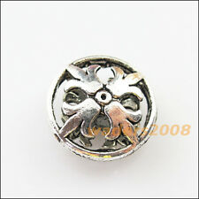 "4 New Charms Round ""Fleur de lis"" Flat Spacer Beads 17mm Tibetan Silver"