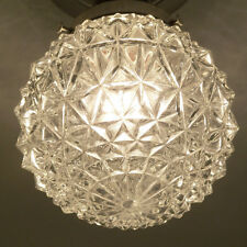 692 Vintage Antique arT Deco Ceiling Light Lamp Chrome Fixture Glass Hall Bath