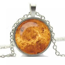 Vintage Style Glass Pendant Orange Galaxy Space Unique Elegant Necklace N452