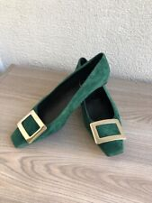 roger vivier Size 37.5 Suede Shoes Gold Buckle Absolutely Gorgeous
