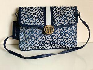 NEW! TOMMY HILFIGER BLUE FLAP SATCHEL SHOULDER BAG PURSE $85 SALE
