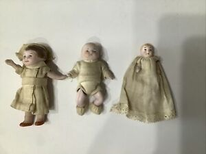 "German Bisque Wire Jointed 3"" Dolls (3)"