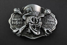 3D DARK SKULL BELT BUCKLE METAL SWORN TO FUN NOBEL TO NONE