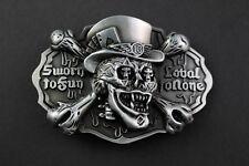 3D Foncé Crâne Boucle de ceinture métal juré de Fun Nobel à Aucun