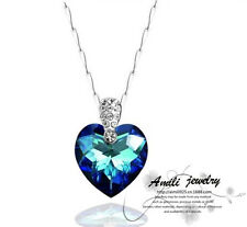 Titanic Heart of the Ocean Gemstone Sterling Silver Necklace Pendant Gift Box F9